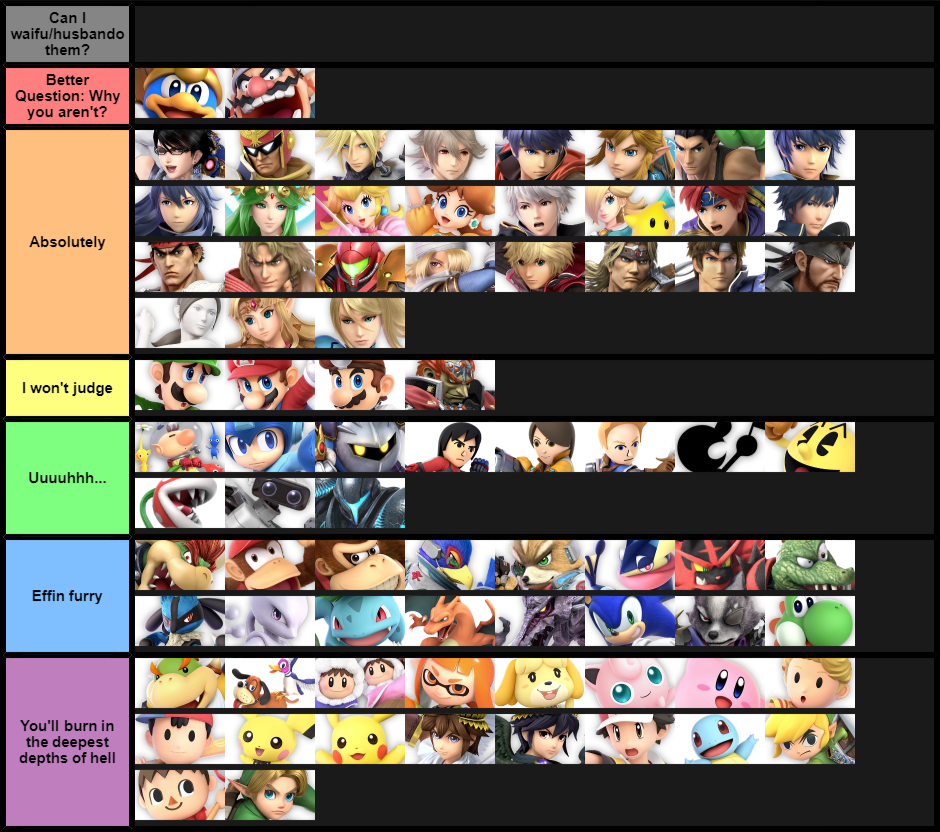 A list for Smash fans that also happen to be weebs ...