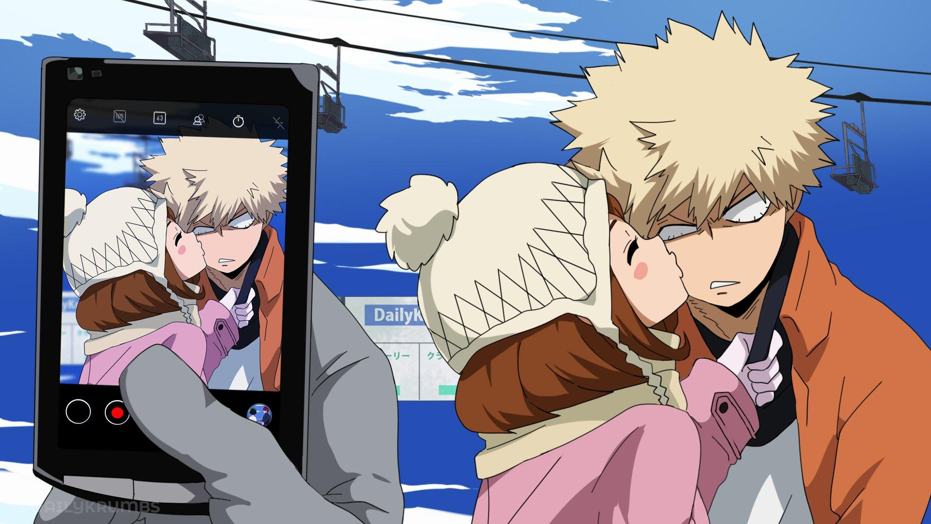 Ochako Kissing Kacchan While Deku Takes The Picture My Hero