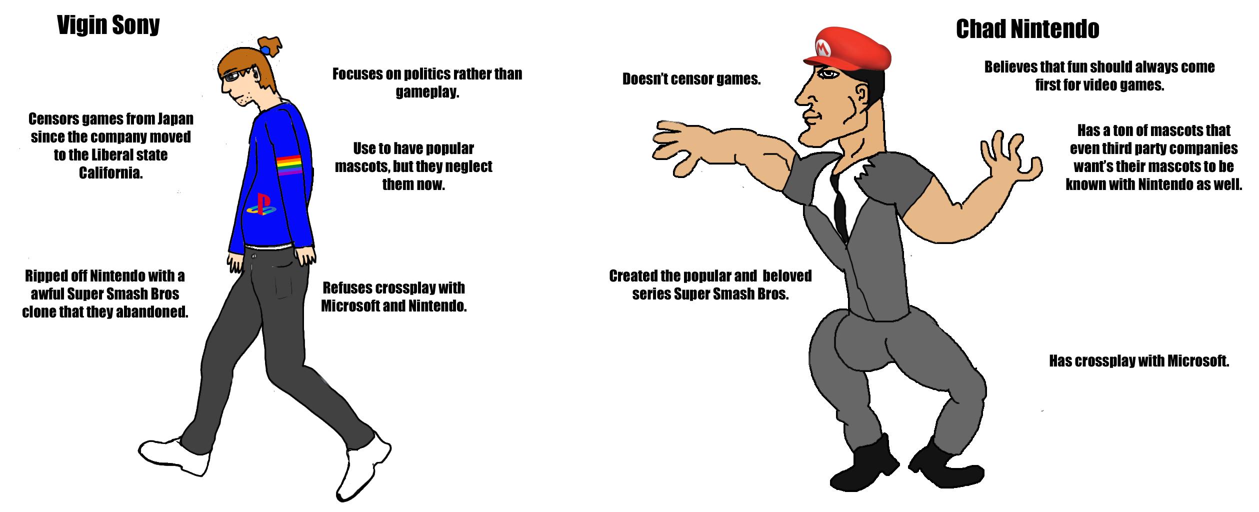 Virgin Sony vs Chad Nintendo   Virgin vs. Chad   Know Your Meme