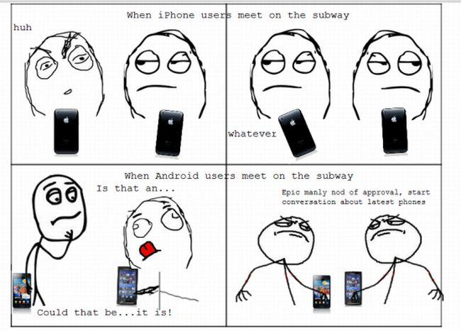 iphone users meet on the subway | Android Users Vs  iPhone