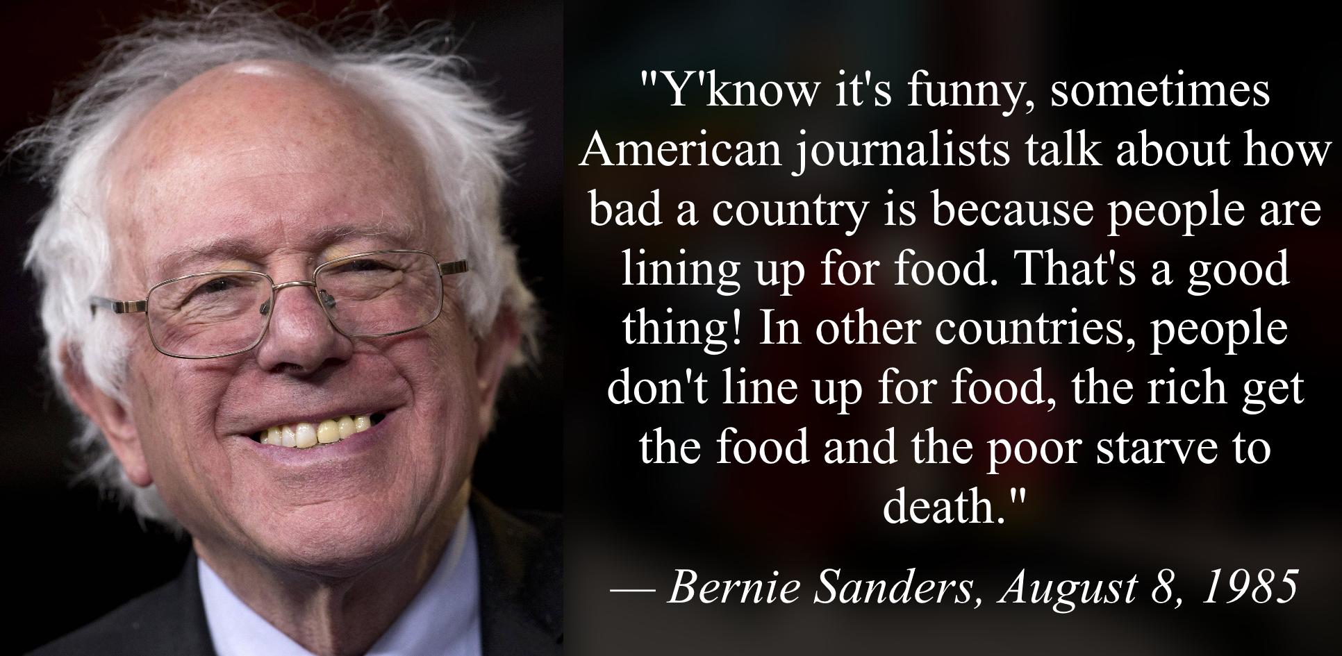 Bernie Sanders Praises Food Rationing Bernie Sanders Know Your Meme