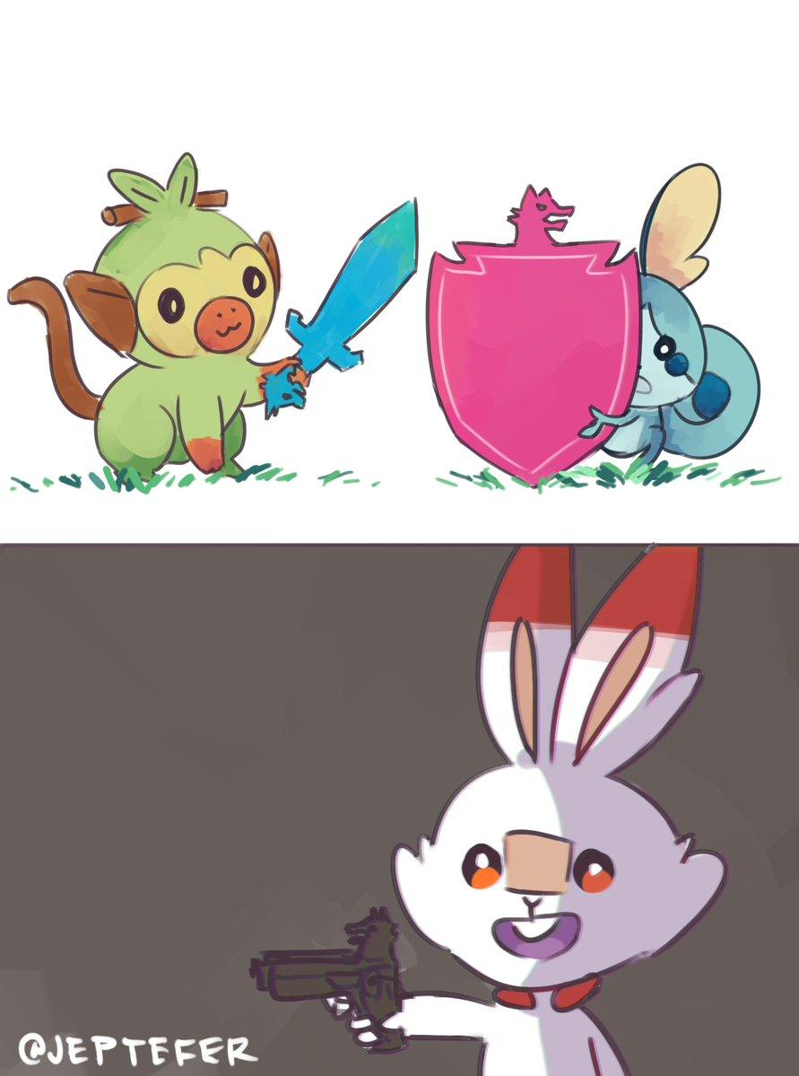 Pokemon Sword Shield And Gun Pokemon Sword And Shield Know Your Meme Grookey is one of the starter pokémon available in pokémon sword & shield (releasing late 2019) along with scorbunny and sobble. pokemon sword shield and gun
