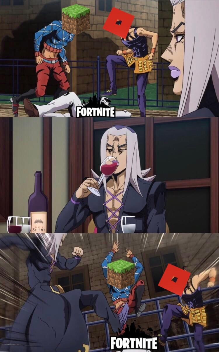 Minecraft Roblox Fortnite Abbacchio Joins The Kicking Know