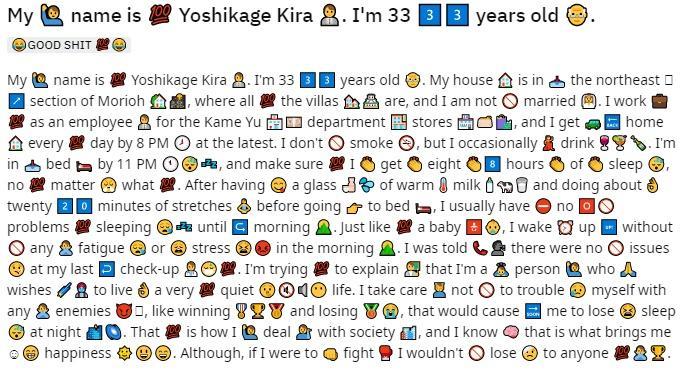 My name is kira yoshikage