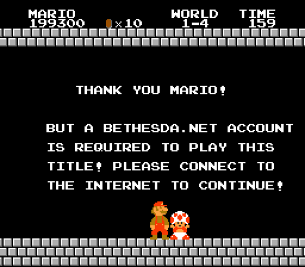 Super Mario Special Edition A Bethesda Account Is Required