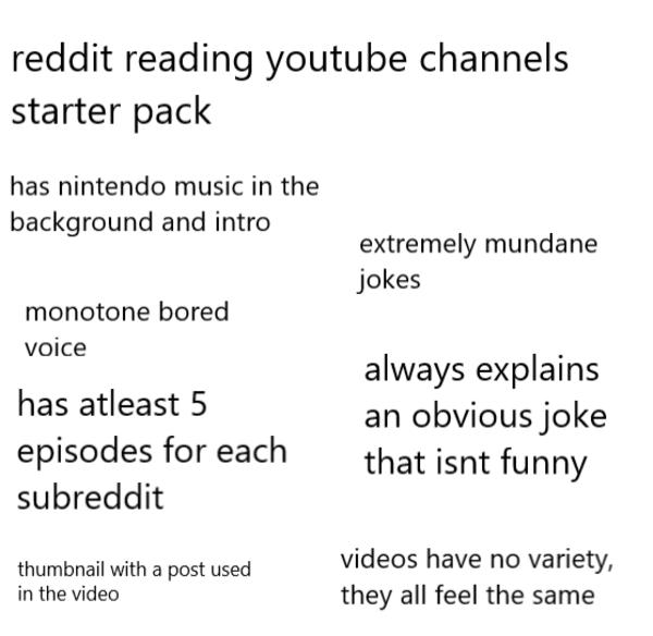reddit reading youtube channels starter pack | r/starterpacks