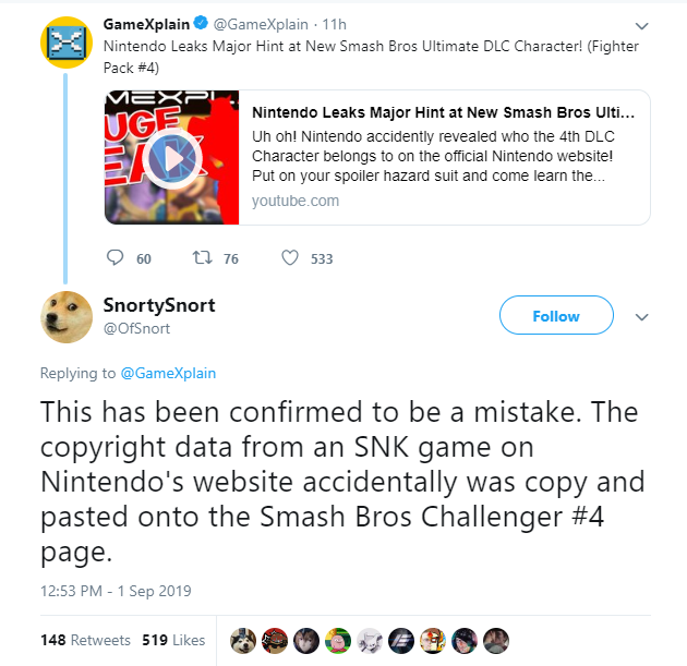 Possible copy-paste mistake? | Super Smash Brothers Ultimate