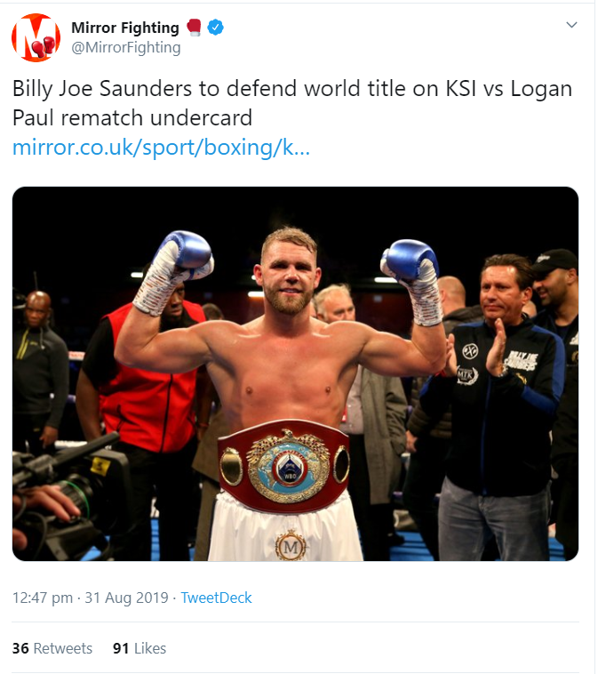 Billy Joe Saunders Confirmed Undercard Fighter For Ksi Vs Logan