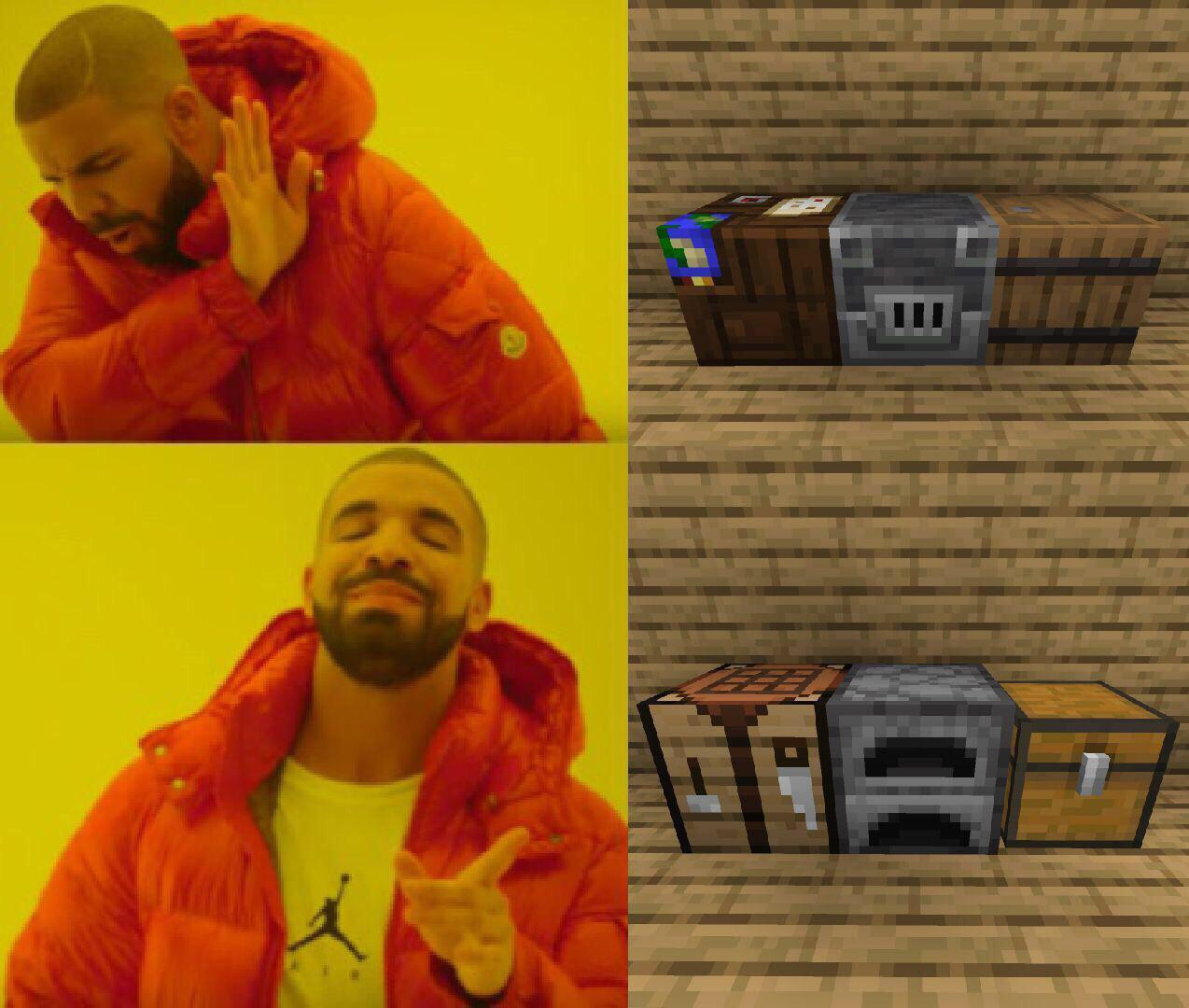 It Ain T A House Without The Crafting Table Next To The Furnace R Minecraftmemes Minecraft Know Your Meme