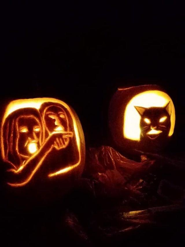 2019 Halloween Pumpkin Carvings Woman Yelling At A Cat Know Your Meme