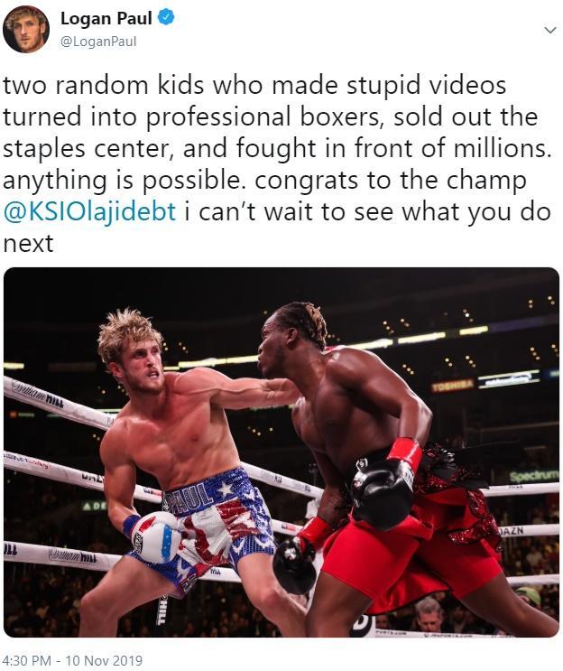 Logan Paul S Post Fight Tweet Ksi Vs Logan Paul 2 Know Your Meme