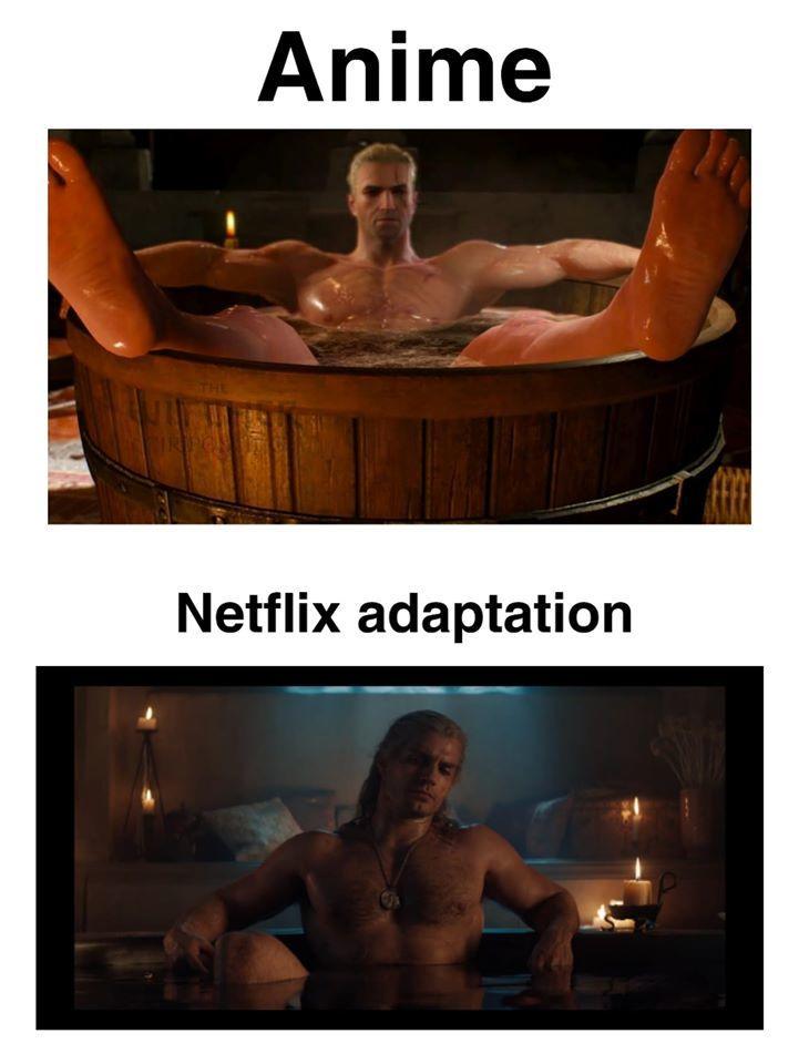 Netflix Adaptation Of The Bath Scene Geralt In A Bathtub