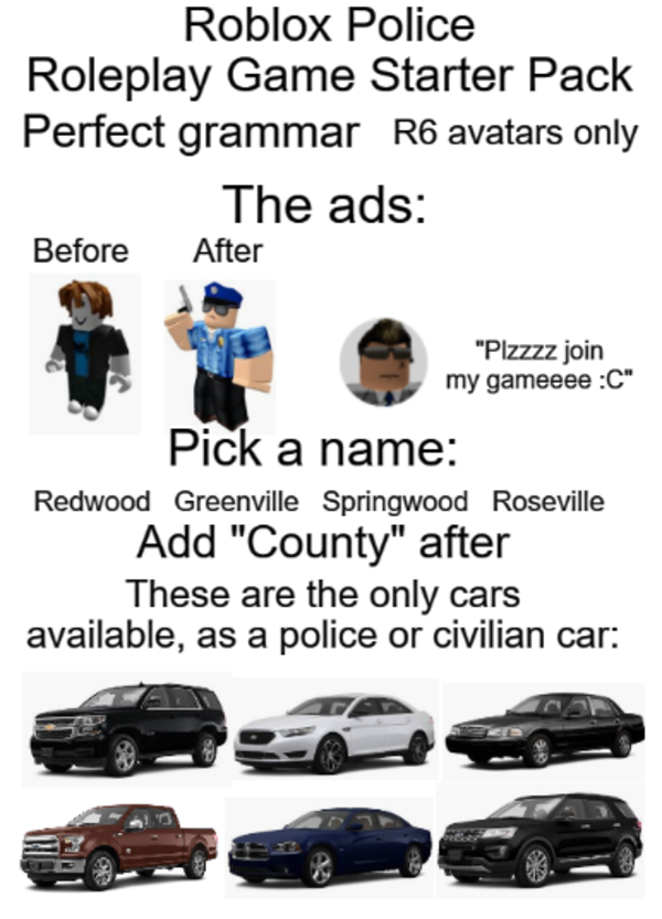Roblox Police Roleplay Game Starter Pack R Starterpacks