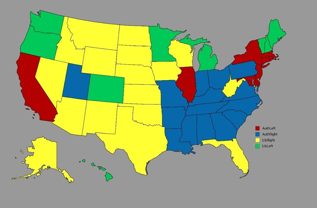 Picture of: U S States Color Coded To The Compass Scaled For U S Politics R Politicalcompassmemes Political Compass Know Your Meme