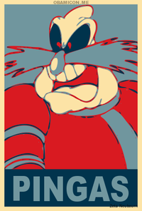 PINGAS Screamer Doctor Eggman red cartoon poster text art graphic design fictional character font illustration