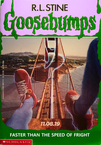 Sonic the Hedgehog live action movie poster edited as a Goosebumps cover