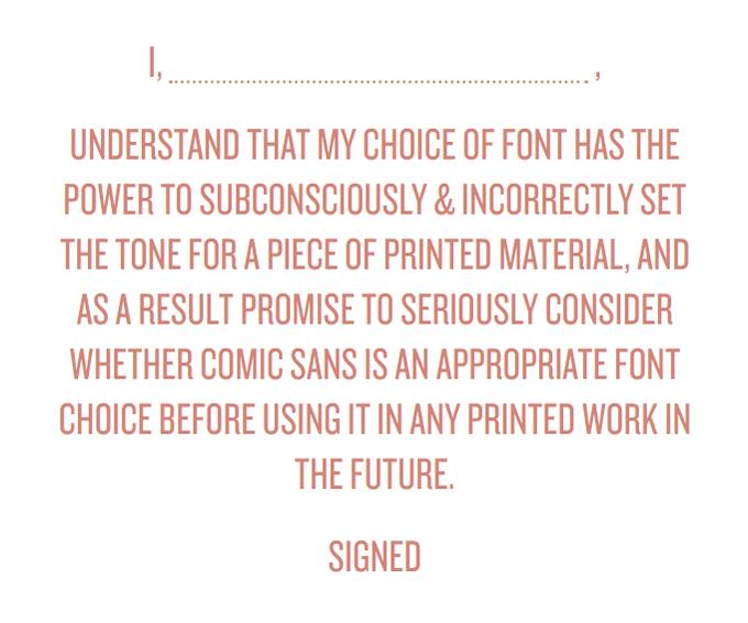 التعهد الذي يطلبه موقع Comic Sans Criminals - الخط Comic Sans