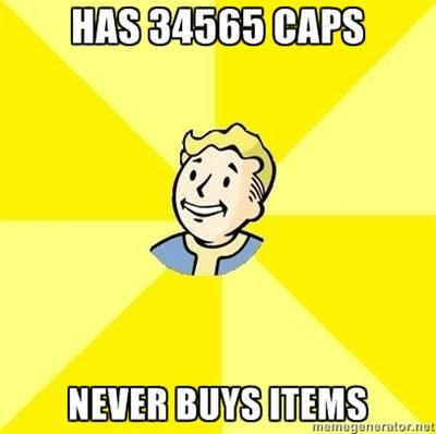 HAS 34565 CAPS NEVER BUYS LTEMS nermegenerator.ne Fallout 3 Fallout: New Vegas Fallout 2 Fallout 4 Wasteland Rage text yellow cartoon font emotion smile line human behavior