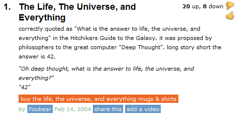 the answer to life the universe and everything know your meme