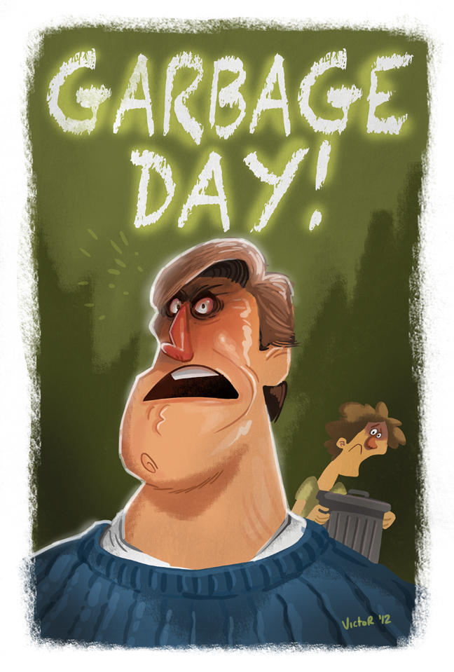 GARBAGE DAY poster cartoon nose head