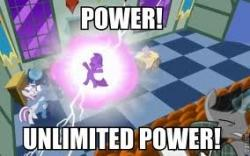 POWER! UNLIMITED POWER! Twilight Sparkle Rainbow Dash Princess Celestia Pinkie Pie Rarity games purple technology pc game text cartoon