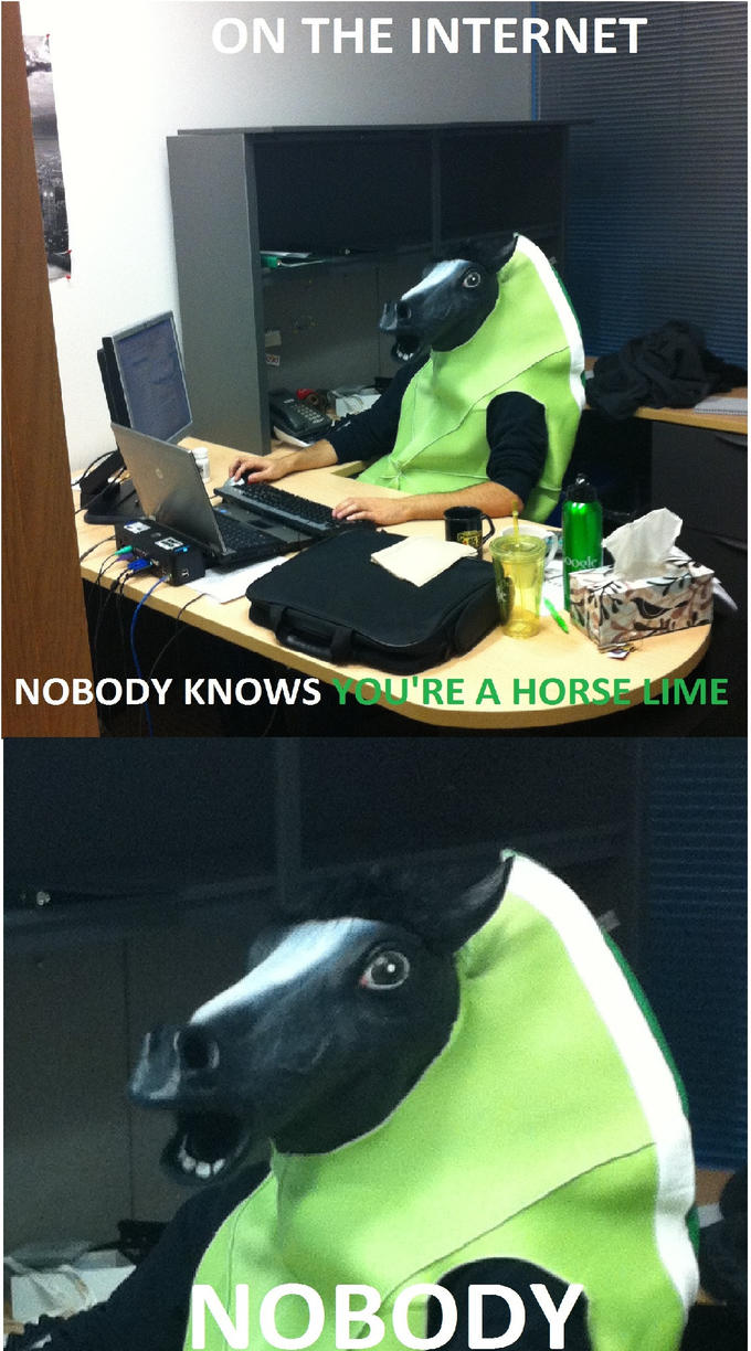 On the internet nobody knows t re a horse lime nobod