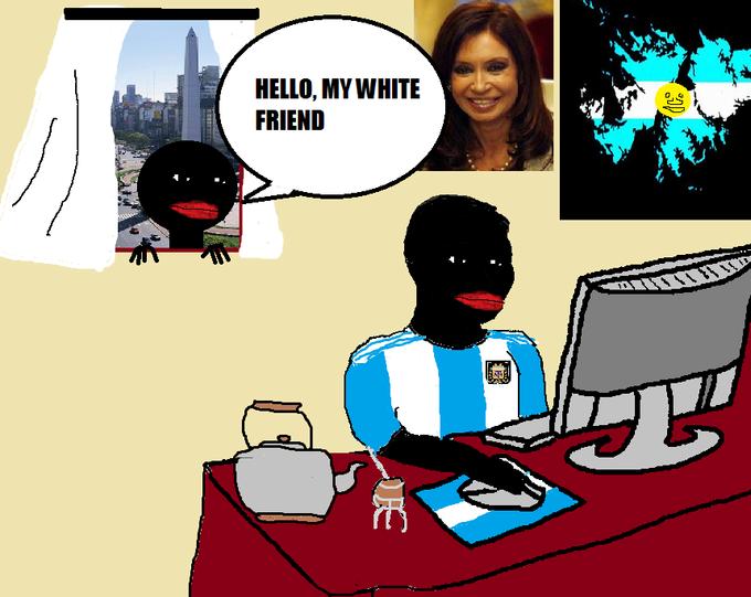 HELLO, MY WHITE FRIEND Argentina cartoon text