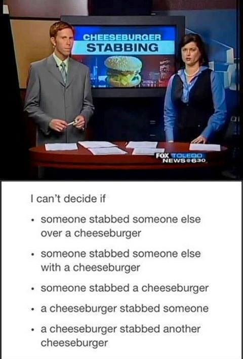 Cheeseburger Stabbing Funny News Headlines Know Your Meme