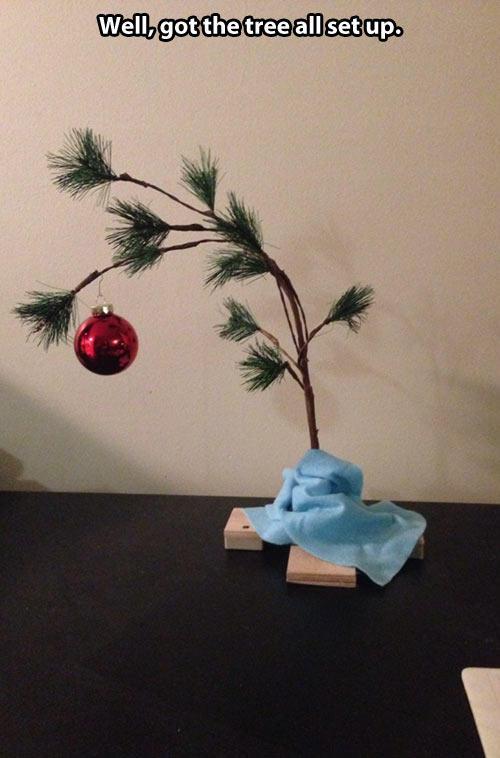 well gotthetreeallsetups ikebana - Charlie Brown Artificial Christmas Tree