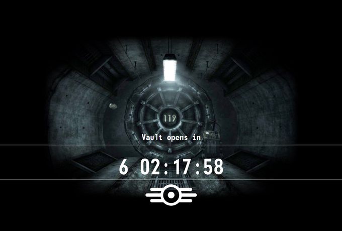 119 1 Vault opens irn 6 02:17:58 Fallout 3 Fallout 4 P.T. black and white text darkness font monochrome phenomenon computer wallpaper