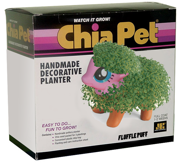 WATCH IT GROW! hia Pet HANDMADE DECORATIVE PLANTER EASY TO DO... FUN TO GROW! Contains: Handmade pottery planter FULL COAT 1-2 WEEKS JE . Chia seed packet for 3 plantings -Convenient plastic drip tray e Planting and care instruction sheet FLUFFLE PUFF