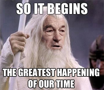 SO IT BEGINS THE GREATEST HAPPENING OFOUR TIME Donald Trump Gandalf hair photo caption facial hair forehead