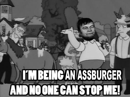 UM BEING AN ASSBURGER ANDNOONECANSTOPME Homer Simpson The Simpsons cartoon black black and white man text day monochrome photography male monochrome fiction