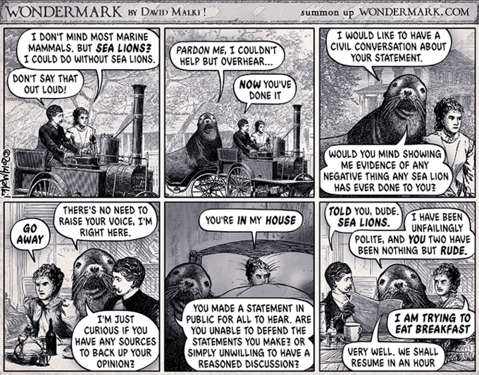 WONDERMARKDa MALK summon up WONDERMARK. COM I DON'T MIND MOST MARINE MAMMALS. BUT SEA LIONS? PARDON ME, I COULDN