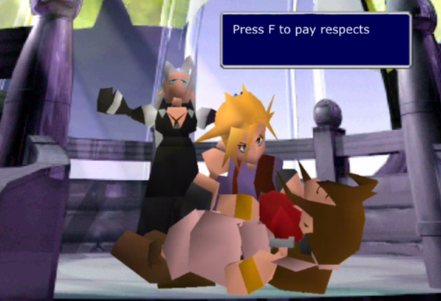 Press F to pay respects Final Fantasy VII Crisis Core: Final Fantasy VII Final Fantasy IX Final Fantasy VII Remake Aerith Gainsborough Cloud Strife Sephiroth technology cartoon games snapshot