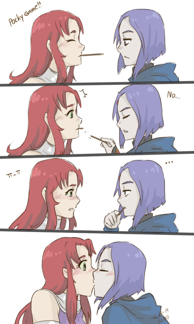 Pocky Game! 0 Raven Starfire face facial expression cartoon nose mammal pink fictional character vertebrate head emotion male joint purple forehead comics fiction anime mouth friendship girl jaw organ cheek human