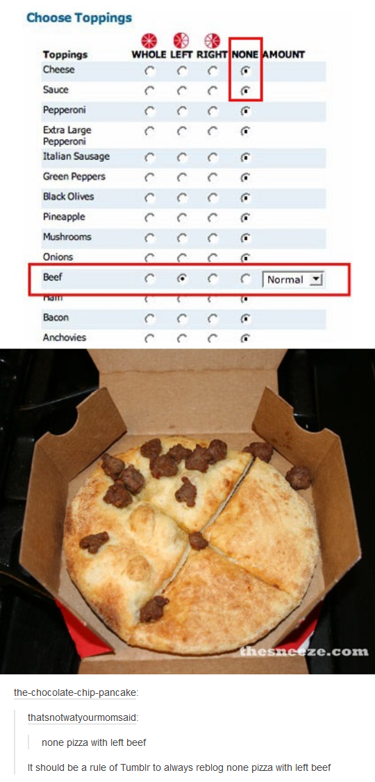 None Pizza With Left Beef Pizza Know Your Meme