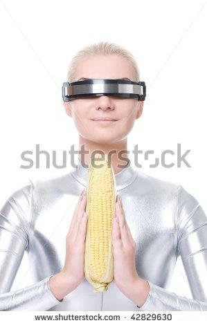 cyber woman with corn stock photography know your meme