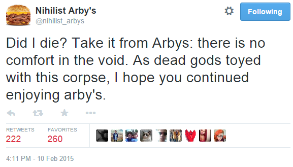 take it from arbys there is no comfort in the void nihilist