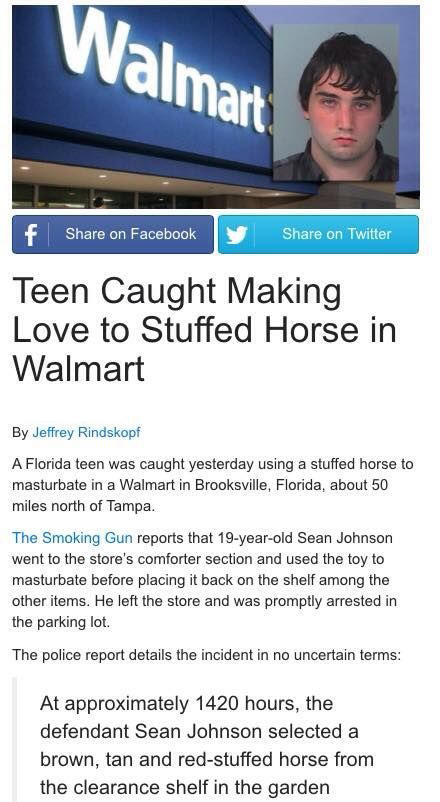 Al Mart Share On Facebook Share On Twitter Teen Caught Making Love To Stuffed Horse In