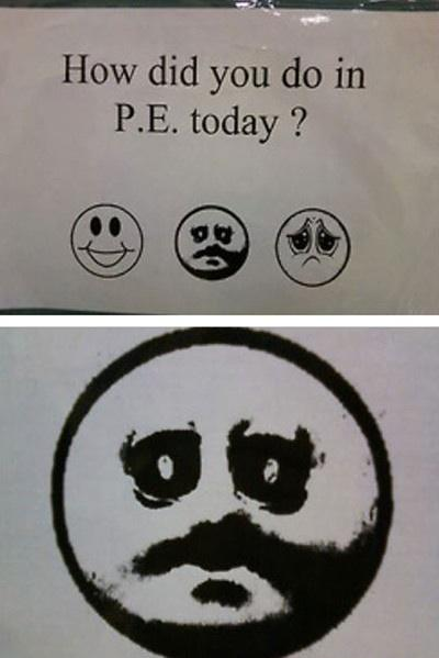 How did you do in P.E. today ? facial expression text font smile cartoon