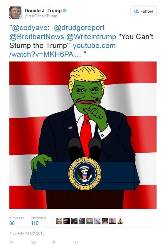 "Donald J. Trump @realDonaldTrump Follow ""@codyave:@drudgereport @BreitbartNews @Writeintrump ""You Can't Stump the Trump"" youtube.com /watch?V MKH6PA RETWEETS FAVORITES 110 1:53 AM- 13 Oct 2015"