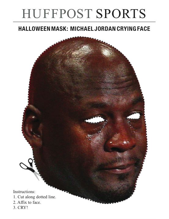 48dac90d931 HUFFPOST SPORTS HALLOWEEN MASK: MICHAEL JORDAN CRYING FACE Instructions: 1.  Cut along dotted