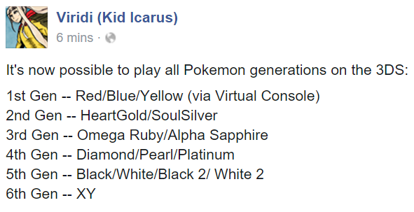Viridi Kid Icarus 6 Mins Its Now Possible To Play All Pokemon Generations On