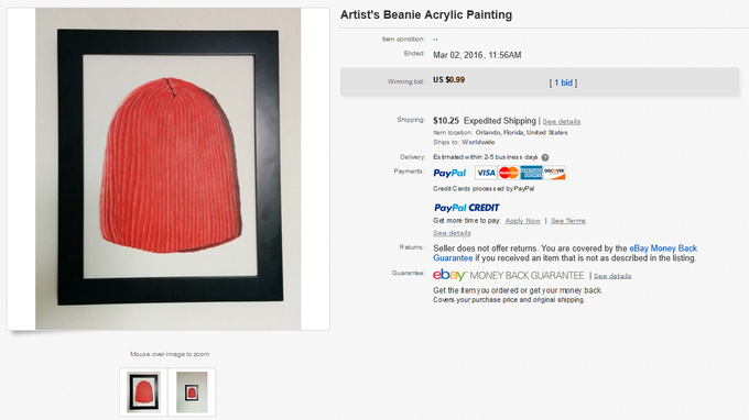 347cb41f71a ... Artist s Beanie Acrylic Painting Item condition  Ended  Mar 02