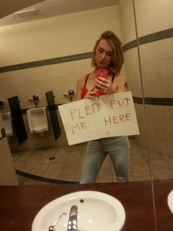 Womens rest room peeing