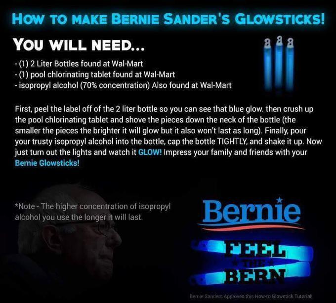 bernie sanders glowsticks know your meme