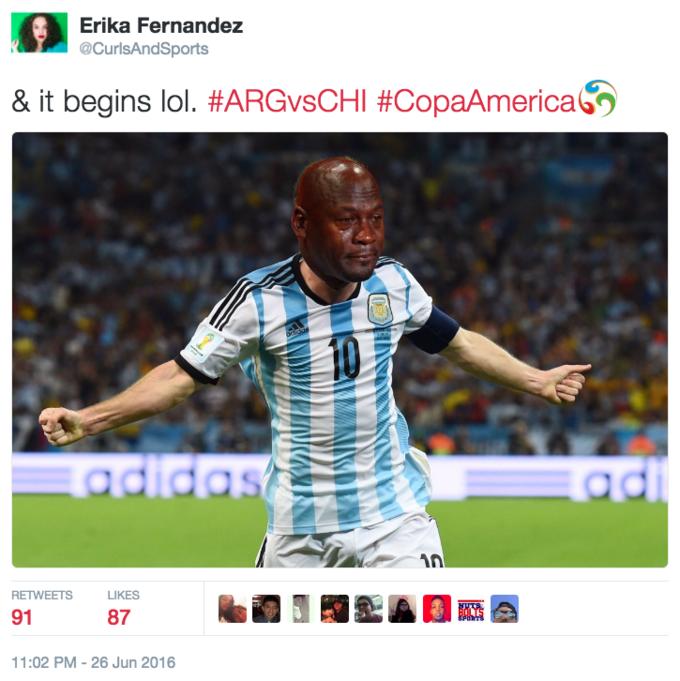 756c27aad29e Erika Fernandez  CurlsAndSports   it begins lol.  ARCvsCHI  CopaAmericah  RETWEETS LIKES 91 Arash Markazi  ArashMarkazi Crying Messi Meme ArA