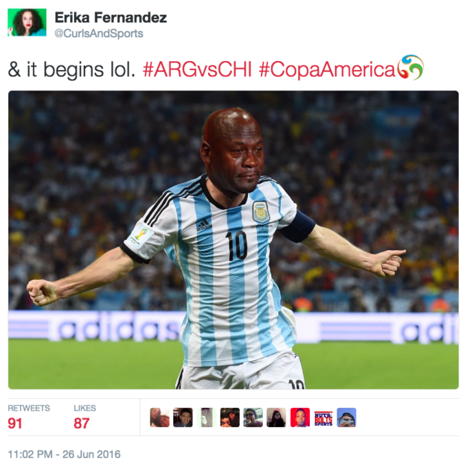2d08c074a613 Erika Fernandez  CurlsAndSports   it begins lol.  ARCvsCHI  CopaAmericah  RETWEETS LIKES 91 Arash Markazi  ArashMarkazi Crying Messi Meme ArA
