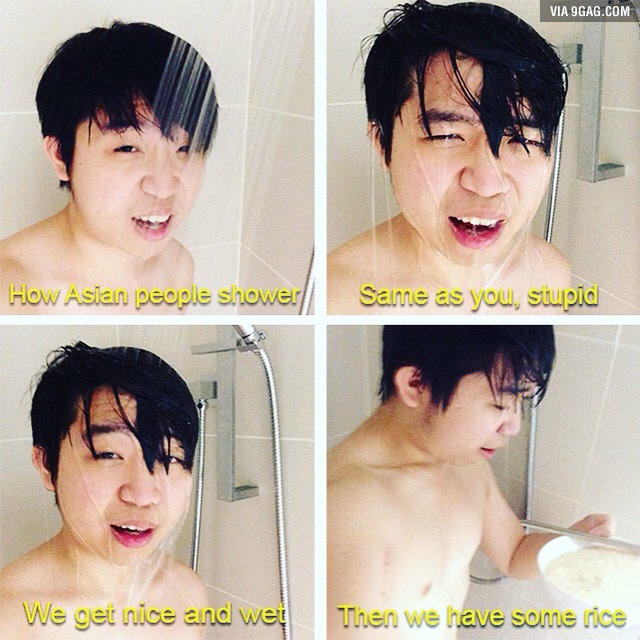 Asian guys making out in shower